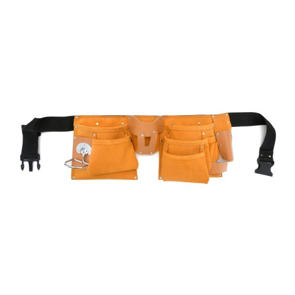 JF 906 10 Pockets Split Leather Carpenter Apron with Metal Holder